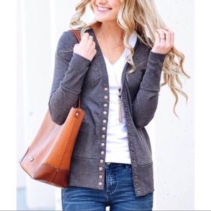 Sweaters - Charcoal Gray Long Sleeve Cardigan